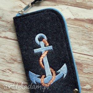 filcowe etui na telefon - kotwica, etui, smartfon, styl, marynarski, prezent