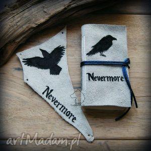 Zestaw skórzany Nevermore: mały notes i naszywka, edgar, allan, poe, kruk, nevermore