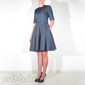 sukienki sukienka jeans midi z kieszeniami, sukienka, koło, kieszenie