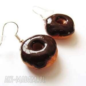 anibyleco kolczyki donut z czekoladą, kolczyki, modelina, masa, fimo
