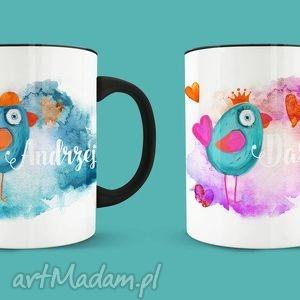 zestaw kubków dla żony i męża zakochane ptaszki, miłość, personalizacja