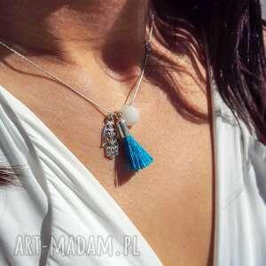 poplavsky naszyjnik rĘka fatimy niebieski chwost srebro 925 - naszyjnik, srebro