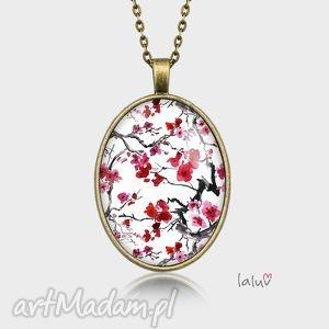 medalion owalny japan flowers - kwiat, kwiaty, wiosna, japonia, grafika, drzewo