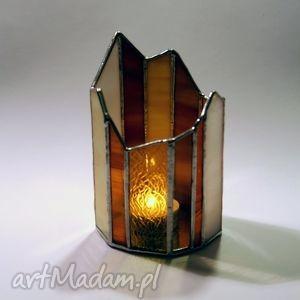 lampion witrażowy grawerowany, lampion, witraż, świecznik dom