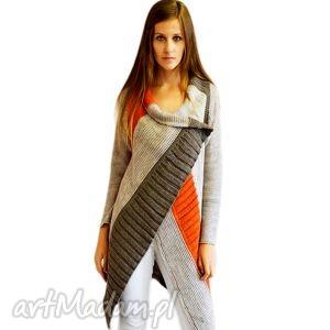 sweter w asymetryczne pasy, jesień, zima, sweter, asymetryczny, długi ubrania, święta