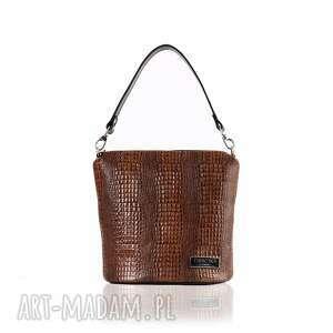 skórzana torebka 074 taszka touch brązowa z fakturą, skórzana, listonoszka, modna
