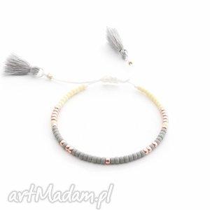 Bransoletka Minimal - Gray And Cream, bransoletki, minimal, minimalistyczna, handmade