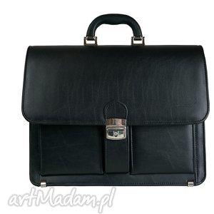 torebki manzana duża męska teczka aktówka klasyczna czarna , manzana, duża