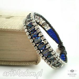 bransoletki cyrkonie z błękitami, cyrkonie, kryształki, szkło, rzemień