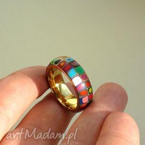 ręcznie zrobione obrączki kolorowa obrączka, stal z polymer clay