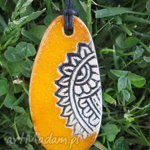 mandarynkowy etno, wisiorek, ceramiczny, pomarańczowy, etniczny, wisior biżuteria