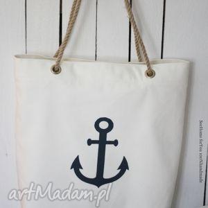 torba w stylu marynistycznym, torba, torebka, damska, marynistyczna, kotwica