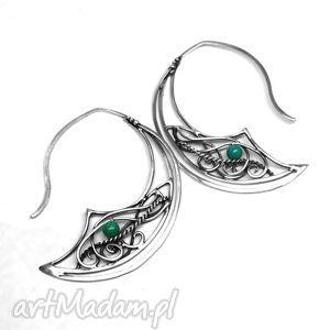 kolczyki z turkusowym akcentem, kolczyki, srebro, turkus, kamień, zielony biżuteria