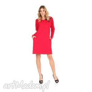 45-sukienka z kokardą,czerwona,rękaw długi, lalu, sukienka, dzianina, bawełna