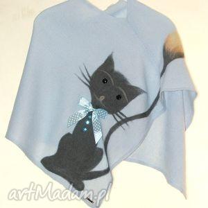 ubranka ponczo dla dziewczynek wełną zdobione, wiosna, koty, prezent, urodziny