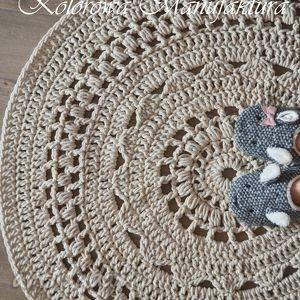 Dywan Ażur - dywan bawełniany ze sznurka szydełko , dywan, koronka, ażurowe, salon