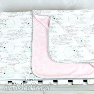 Kocyk minky 75x100 Łapacz snów Róż - kocyk, niemowlę, dziecko, dreamcatcher