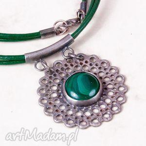 a535 malachitowa koronka naszyjnik srebrny - naszyjnik, srebrny, zmalachitem, kobiecy