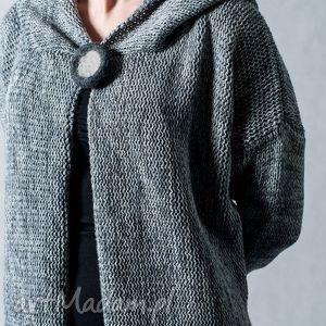 hermina szary melanżowy rozpinany sweter z kapturem , szary, rozpinany, wełna