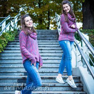 swetry różowo-szary melanżowy sweter z kominem - arthermina, sweter, melanż, komin