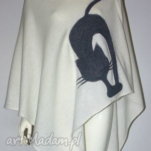 poncho ponczo filcowane wełną, koty, filcowanie, prezent, urodziny, wełna ubrania