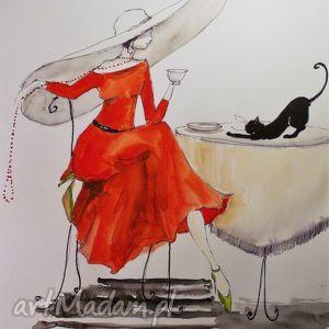 obrazy praca akwarelą i piórkiem dama w kapeluszu artystki plastyka adriany laube