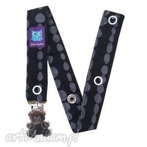 zawieszka do smoczka beads, klips miś - zawieszka, smoczek, tasiemka, kropki, klips