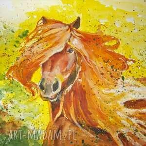 obraz na płótnie rude szczęście 100x70cm artystki adriany laube, koń, szczęście, rudy