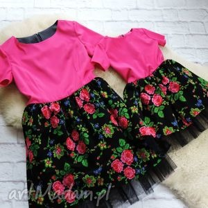 Tiulowa góralska sukienka dla mamy i córki folk róż , sukienka, góralska, mama, córka