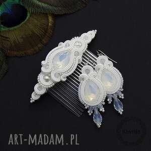 ślub komplet ślubny licira opal soutache, sutasz, opal, rękodzieło, ślub, zestaw