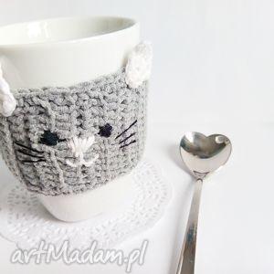 Otulacz na kubek - kotek - ,otulacz,ocieplacz,kubek,herbata,kawa,