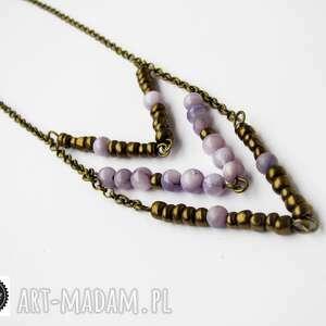 chevron - wisior, fiolet, fioletowy, perła, złoty, łańcuszek
