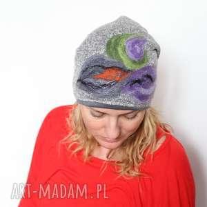 czapki czapka handmade czesanką filcowane , czapka, welna, cieple, folk, mama
