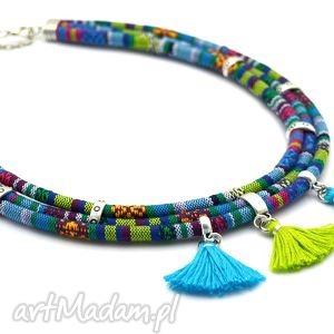 naszyjnik boho azteq z chwostami, rzemień, tkanina, boho, przekładki, chwościki