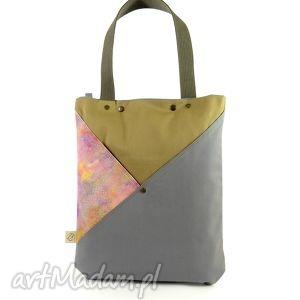 na ramię torba serenity gray, nadruk, kosmos, bawełna, miejska, damska