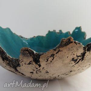 wybrzeże Sardynii - artystyczna miska, ceramiczna, dekoracyjna, turkusowa