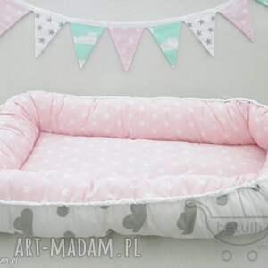 kokon niemowlęcy leżaczek otulacz pastelowe chmurki, kokon, leżaczek, otulacz, mata
