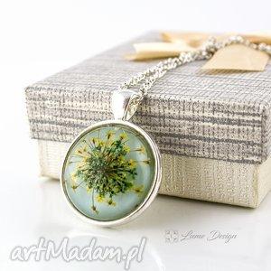 naszyjniki medalion z prawdziwym kwiatem, wisior, medalion, łańcuszek, kwiat