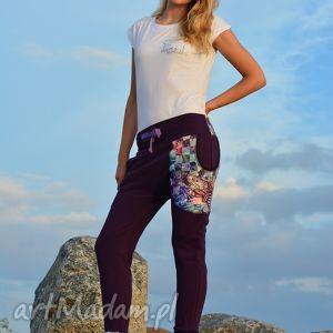Spodnie Nocny Motyl damskie - baggy pants, dres, yoga, ciążowe, ćma, wygodne