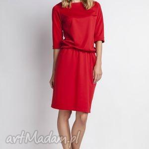 sukienki sukienka, suk129 czerwony, casual, luźna, gumka, sukienka ubrania