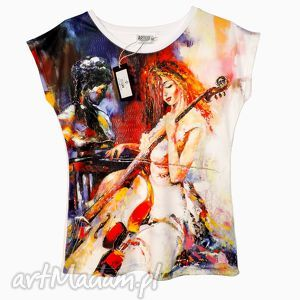artego artystyczna bluzka damska - wiolonczelistka, modny, tshirt