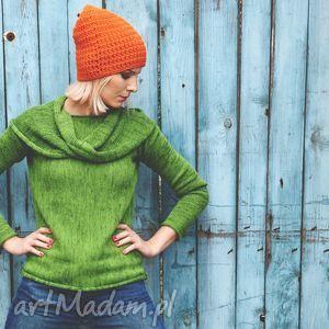 Zielony sweter z kominem, wełna, zielony, artkomin,