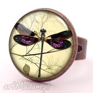 Prezent Ważka - Pierścionek regulowany, ważka, vintage, retro, pierścionek