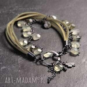 frenit, srebro, oksydowane, skórra, zawieszki, zielona, prezent biżuteria
