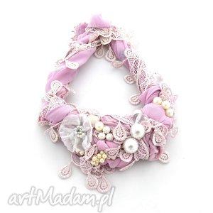 sweet nothing naszyjnik handmade - naszyjnik, różowy, pudrowy, pastelowy