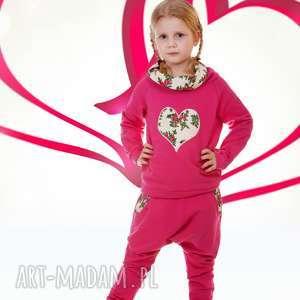 Różowe spodnie kremowe wstawki 74-116,