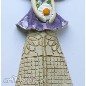 ceramika anioł wiszący z kwiatem, anioł, anielica, aniołek dom