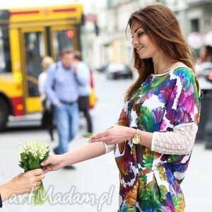 sukienka tunika fiore - bianco, tunika, sukienka, kwiaty, motyw ubrania