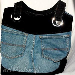 na ramię torba z kieszonkami jeans - sztruks, torba, jeans, recykling, modna
