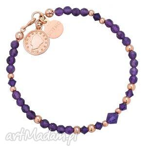 bransoletki fioletowa bransoletka z ametystu zdobiona monetą, bransoletka